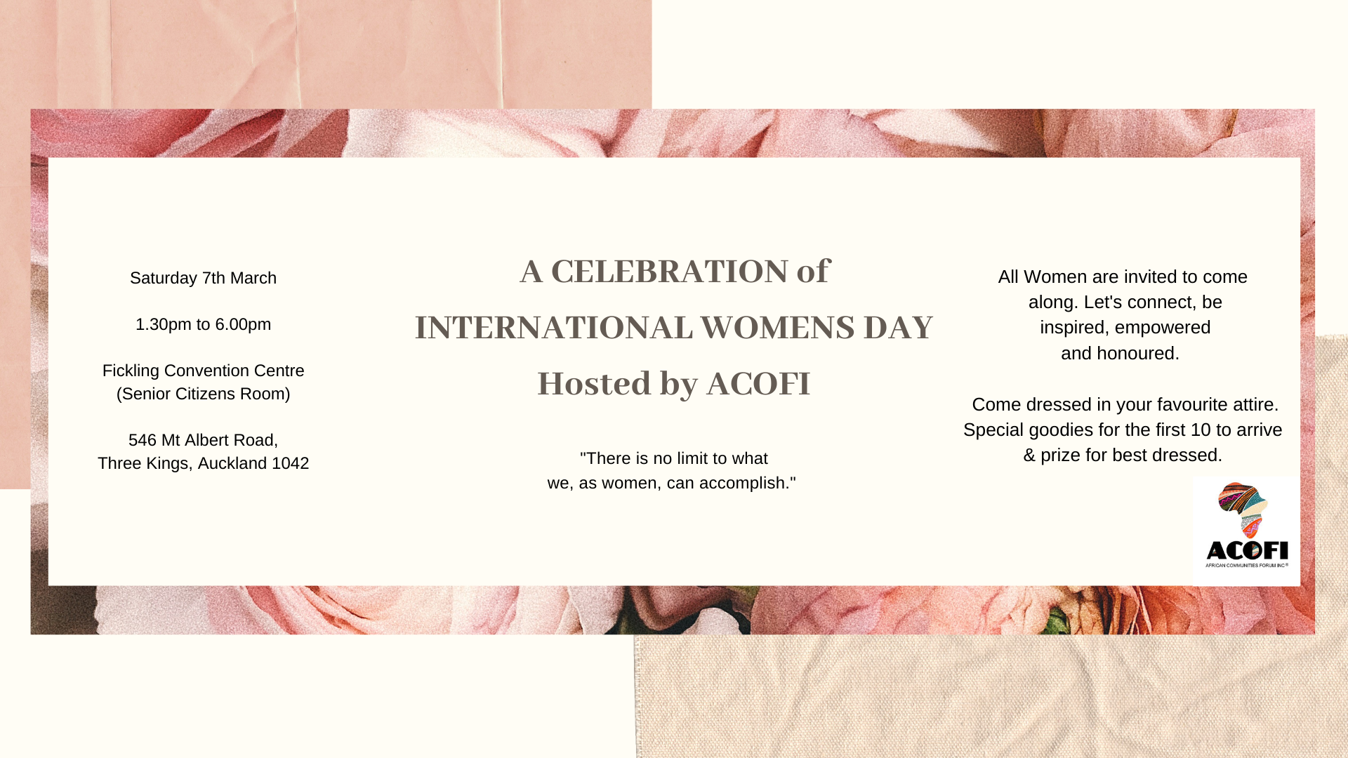 INTERNATIONAL WOMENS DAY Hosted by ACOFI